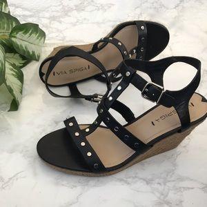 Via Spiga Indya black studded wedge sandal heels 9